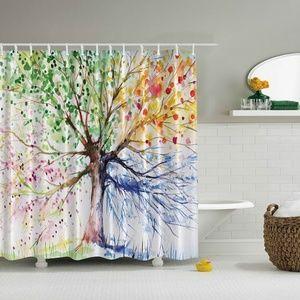Shower Curtain Four Season Tree Print
